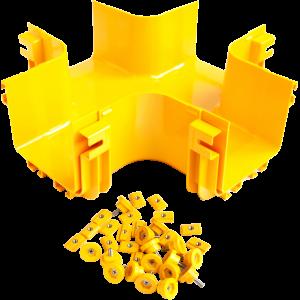 Х-соединитель оптического лотка, монтаж без соединителей, желтый
