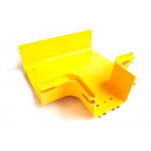 Горизонтальный отвод с лотка 240 мм на лоток 120 мм, желтый