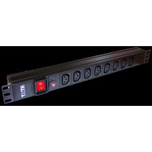 "Блок розеток 19"" 8 шт. C13, 10A 250V, без шнура питания"